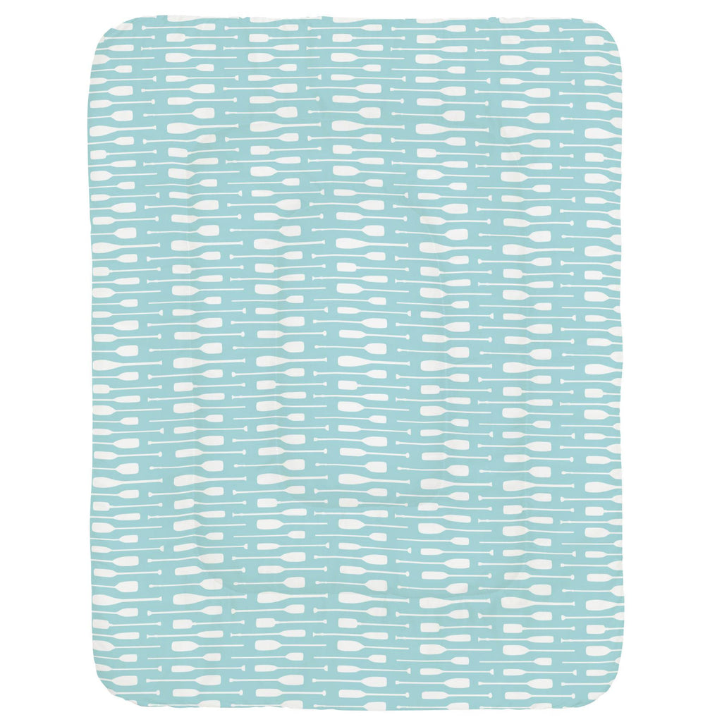 Product image for Seafoam Aqua and White Oars Crib Comforter