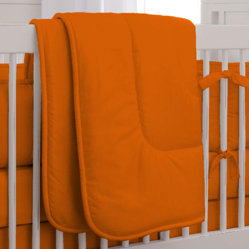 Product image for Solid Orange Crib Comforter with Piping