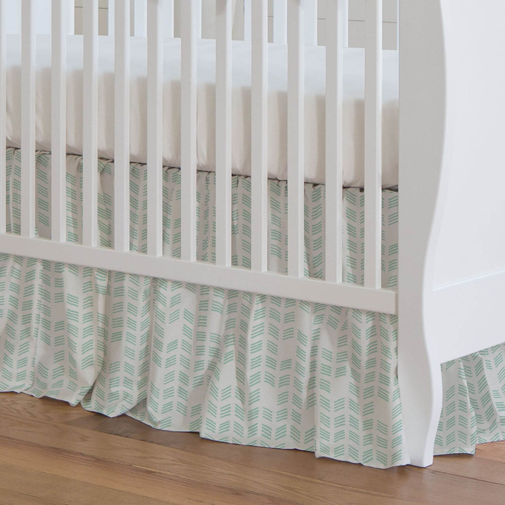 Product image for Mint Tribal Herringbone Crib Skirt Gathered