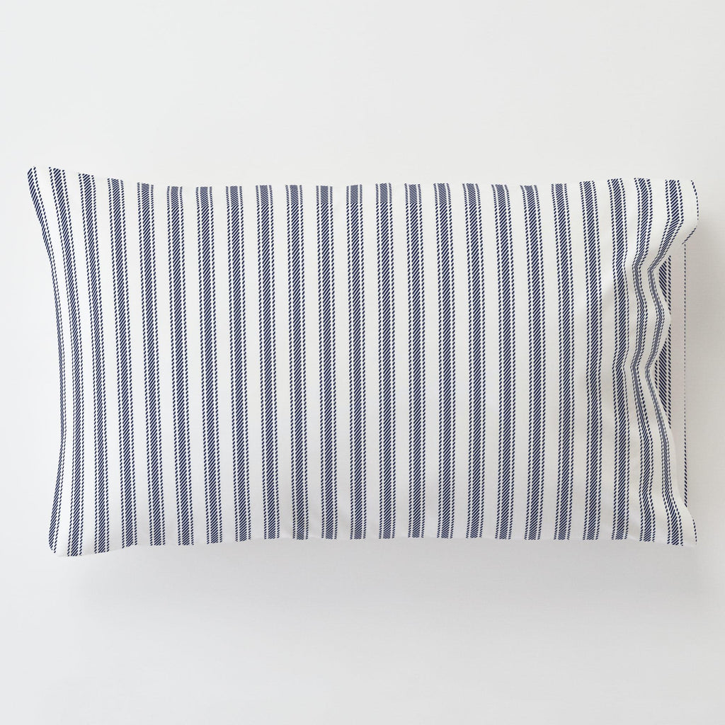 Product image for Windsor Navy Ticking Stripe Toddler Pillow Case with Pillow Insert