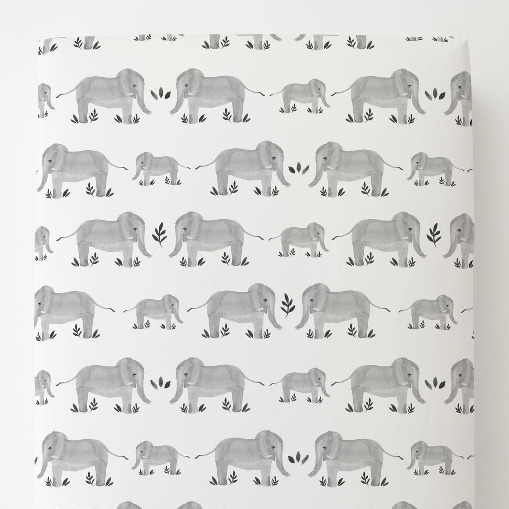 Product image for Gray Painted Elephants Toddler Sheet Bottom Fitted