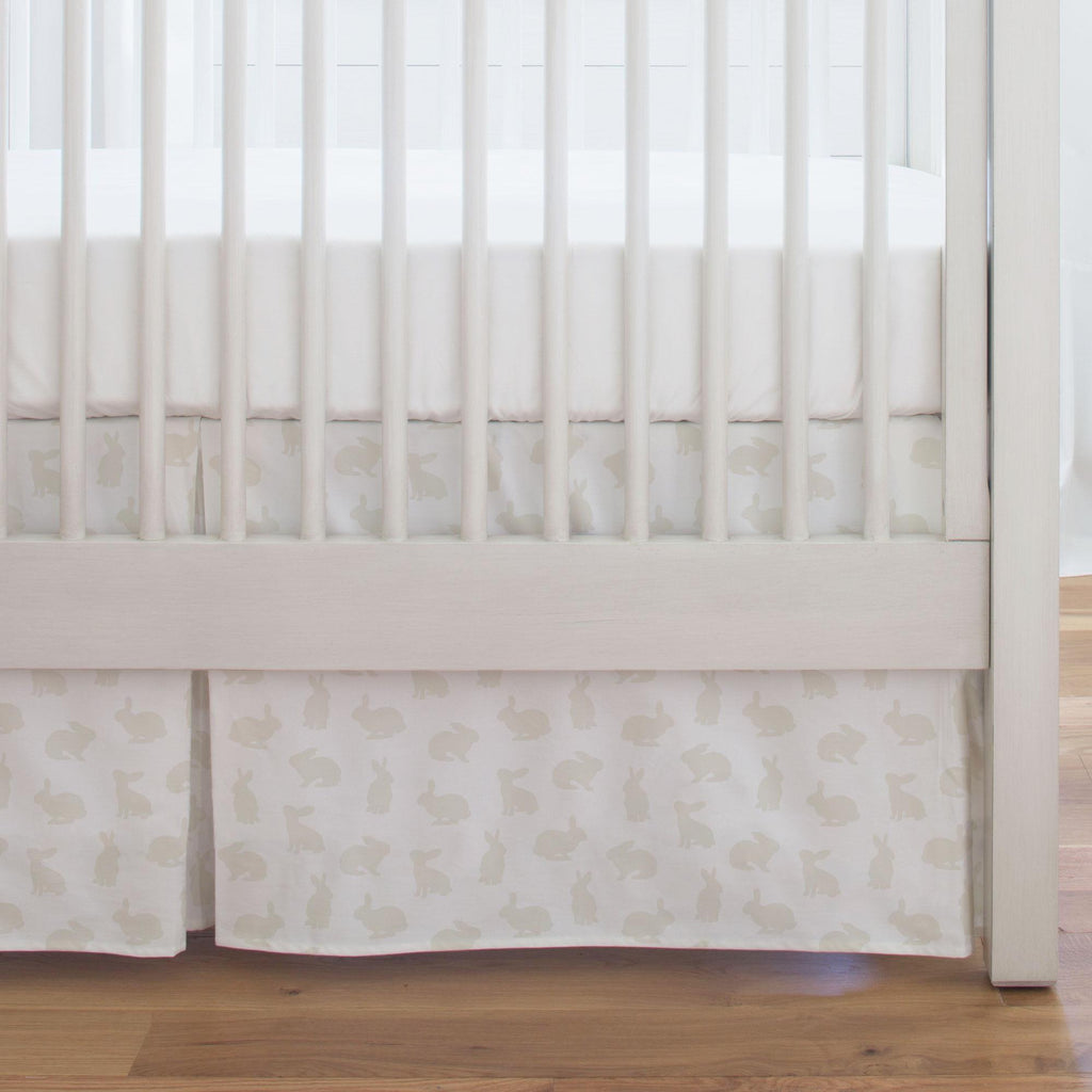 Product image for Ivory Bunnies Crib Skirt Single-Pleat