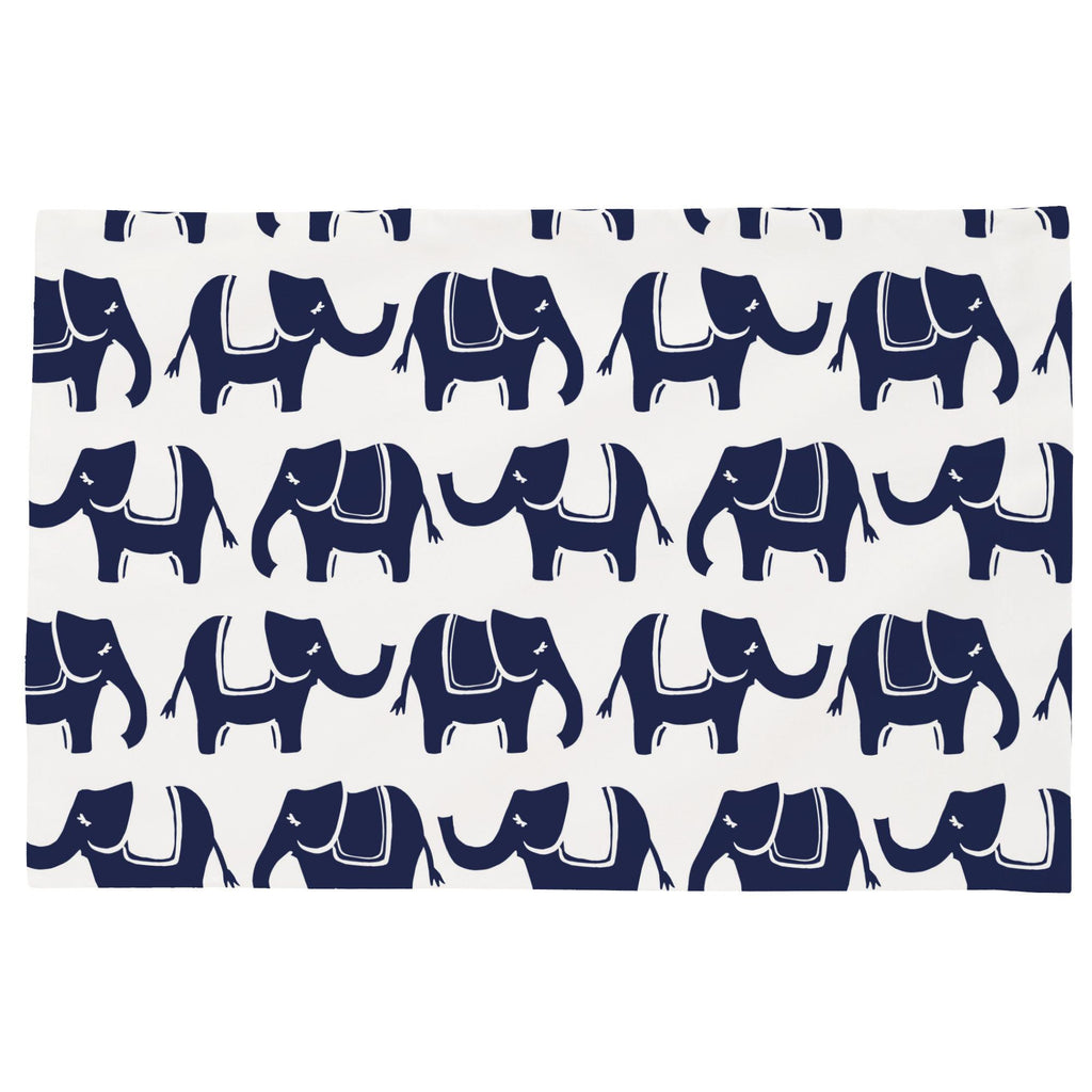 Product image for Navy Marching Elephants Toddler Pillow Case