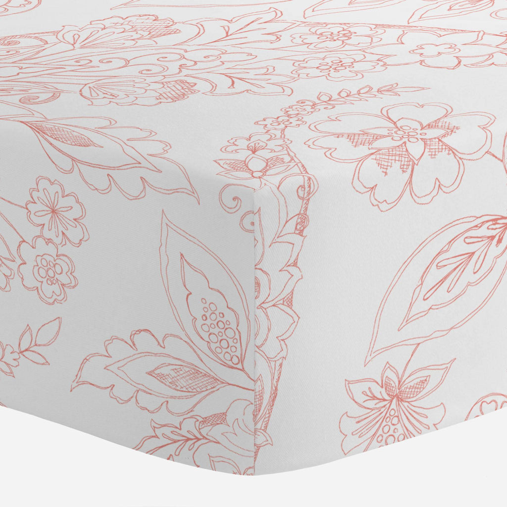 Product image for Light Coral Sketchbook Floral Crib Sheet
