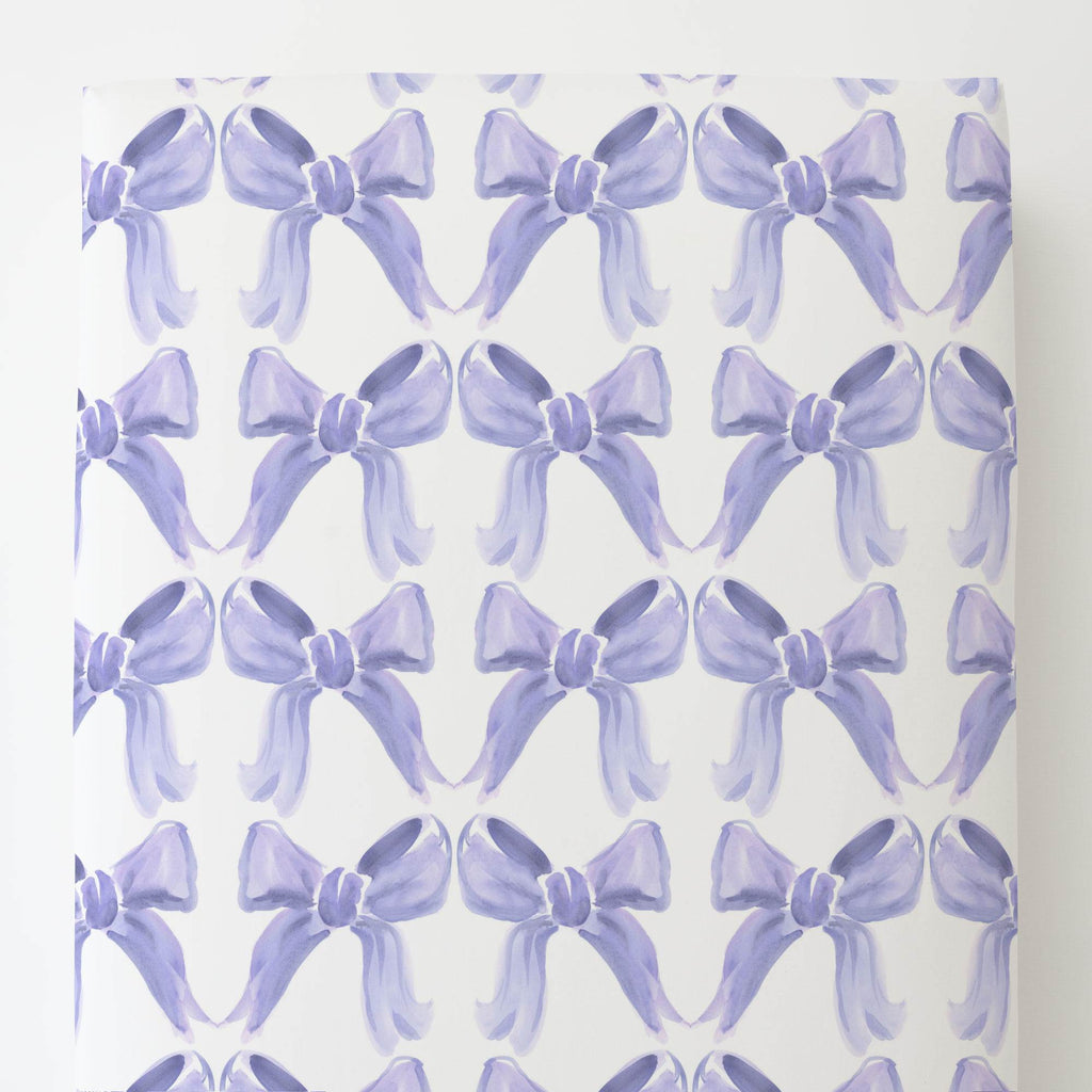 Product image for Lilac Watercolor Bows Toddler Sheet Bottom Fitted