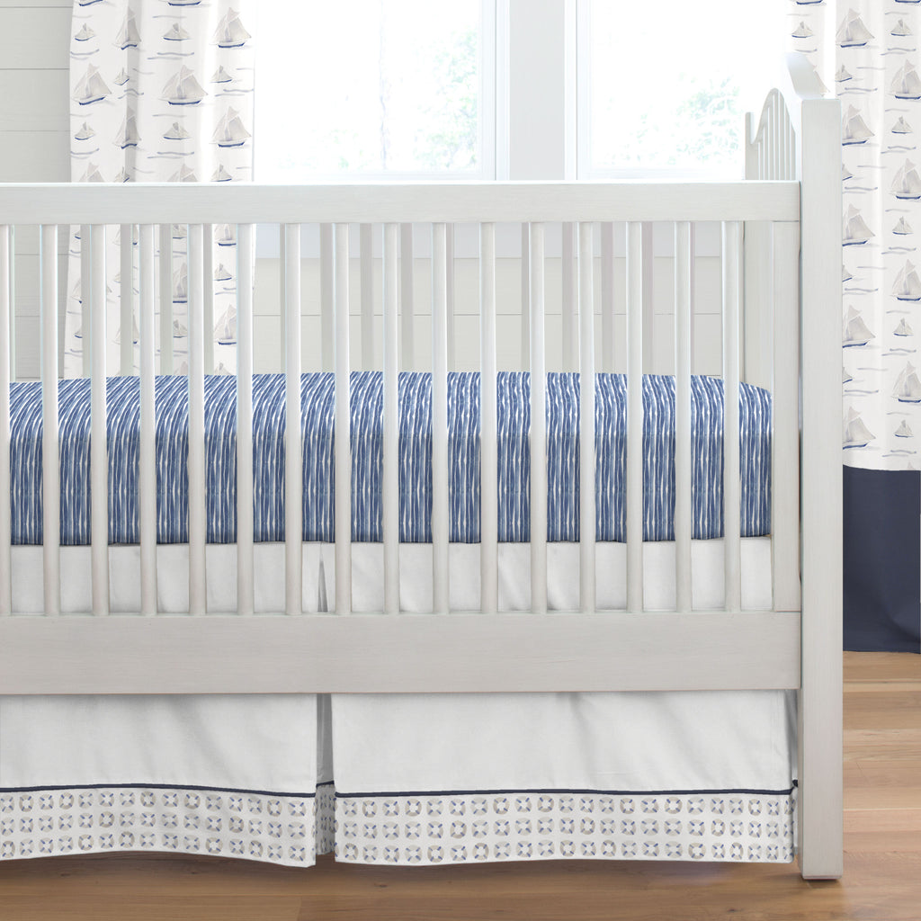 Product image for Navy and Watercolor Lifesavers Crib Skirt with Trim