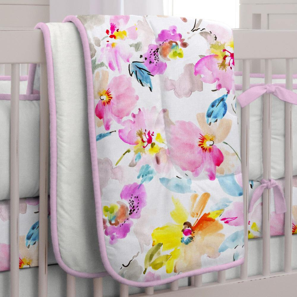Product image for Watercolor Floral Crib Comforter with Piping