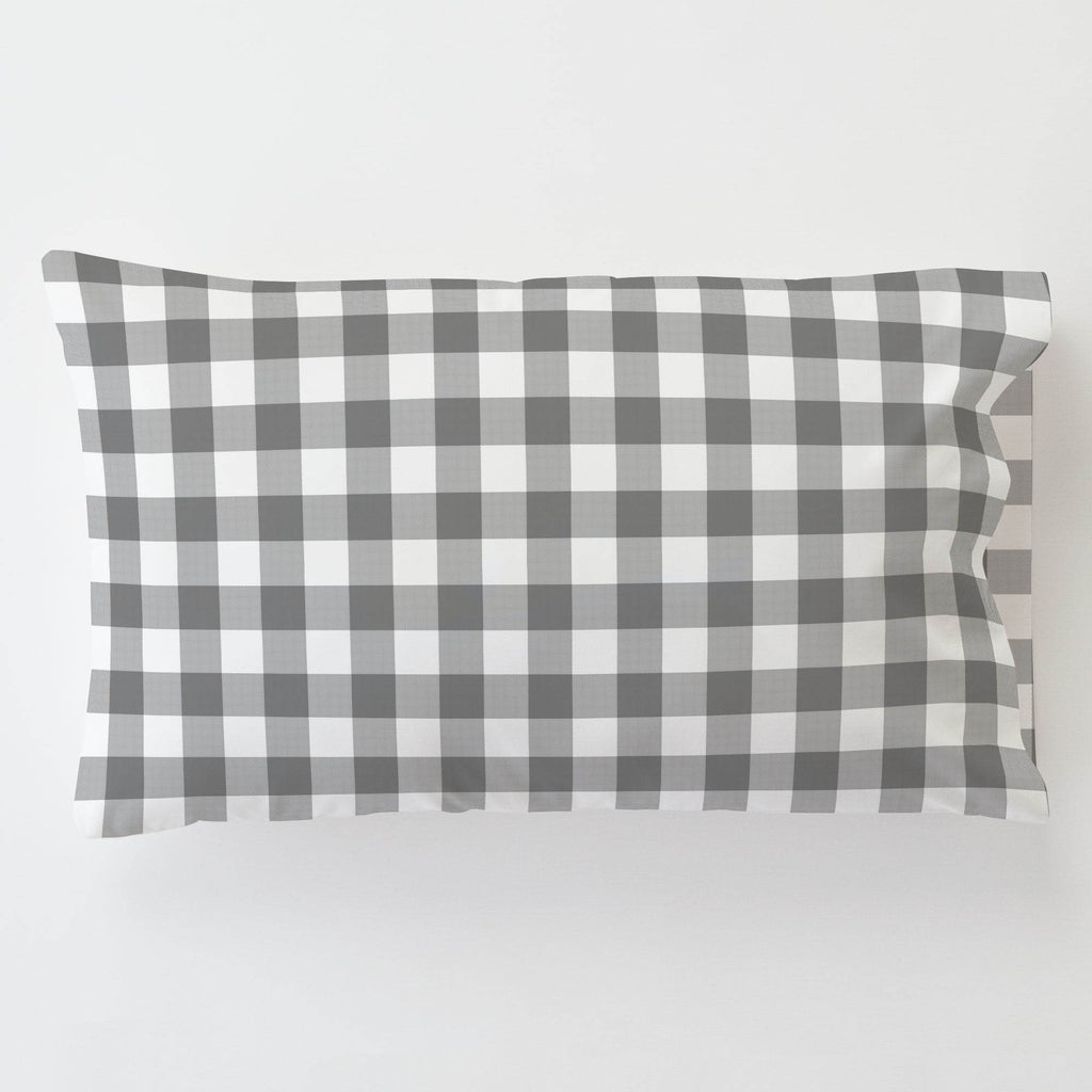 Product image for Gray Gingham Toddler Pillow Case with Pillow Insert