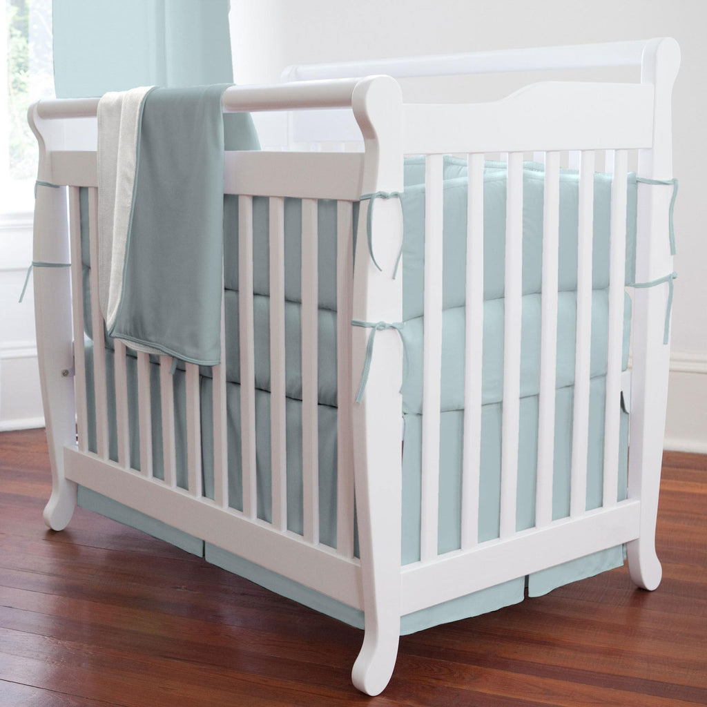 Product image for Solid Robin's Egg Blue Mini Crib Skirt