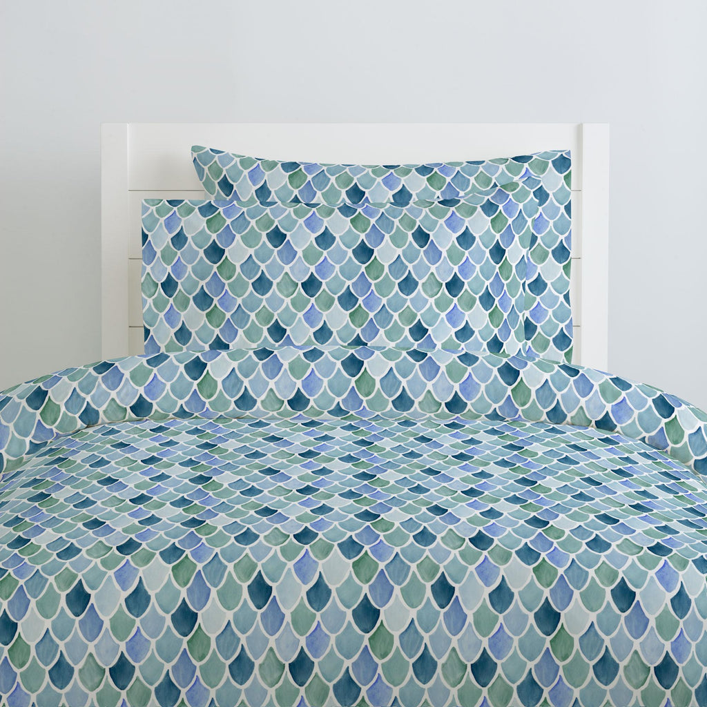 Product image for Blue Watercolor Scales Duvet Cover