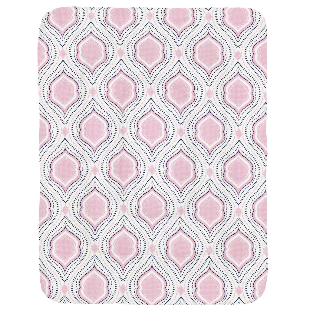 Product image for Pink and Navy Moroccan Damask Crib Comforter