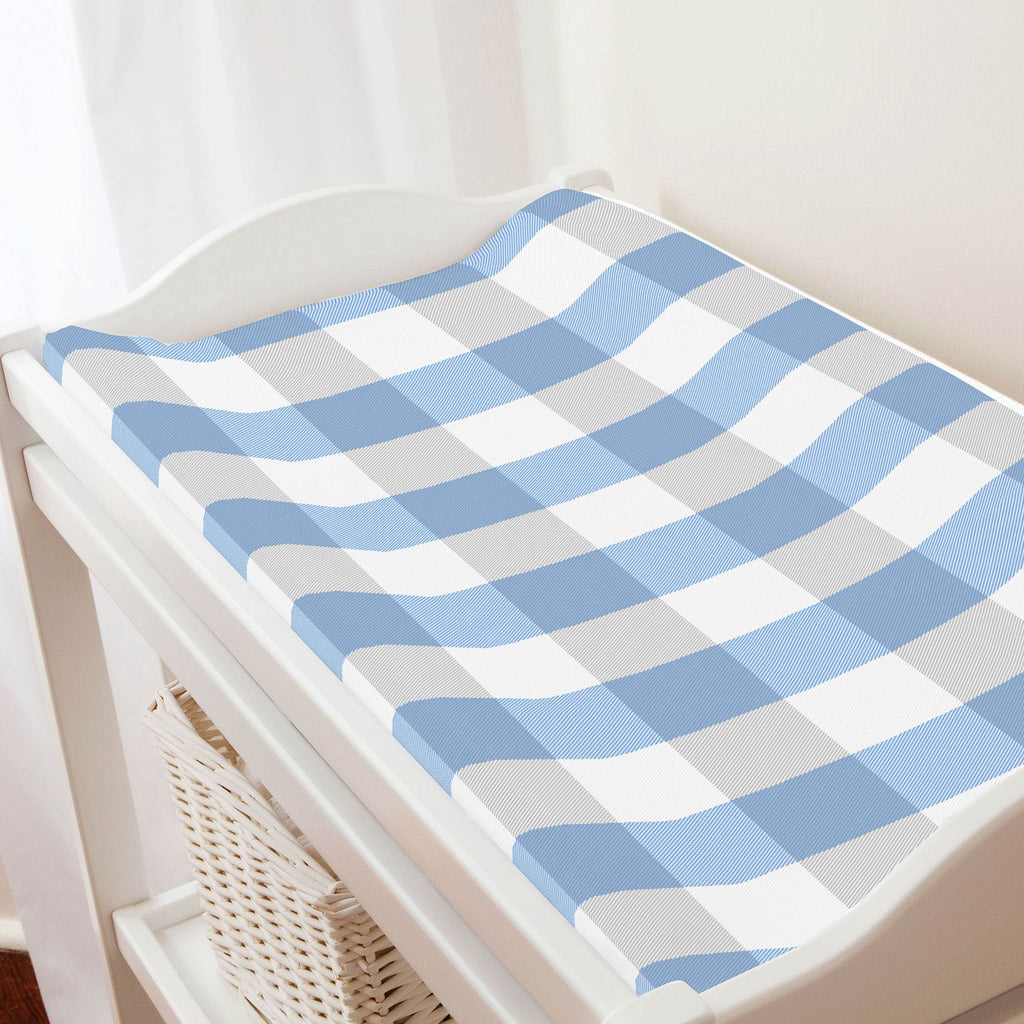 Product image for Blue and Silver Gray Buffalo Check Changing Pad Cover