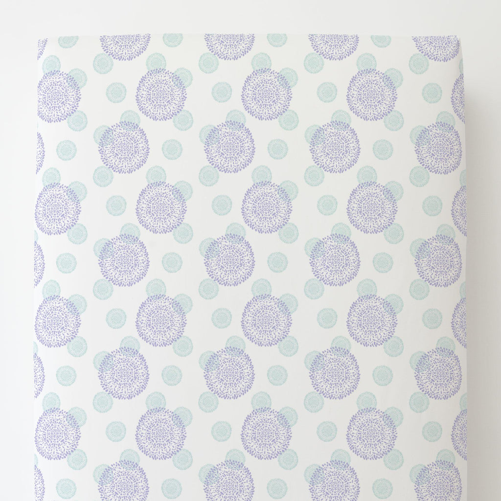 Product image for Lilac and Mist Dandelion Toddler Sheet Bottom Fitted