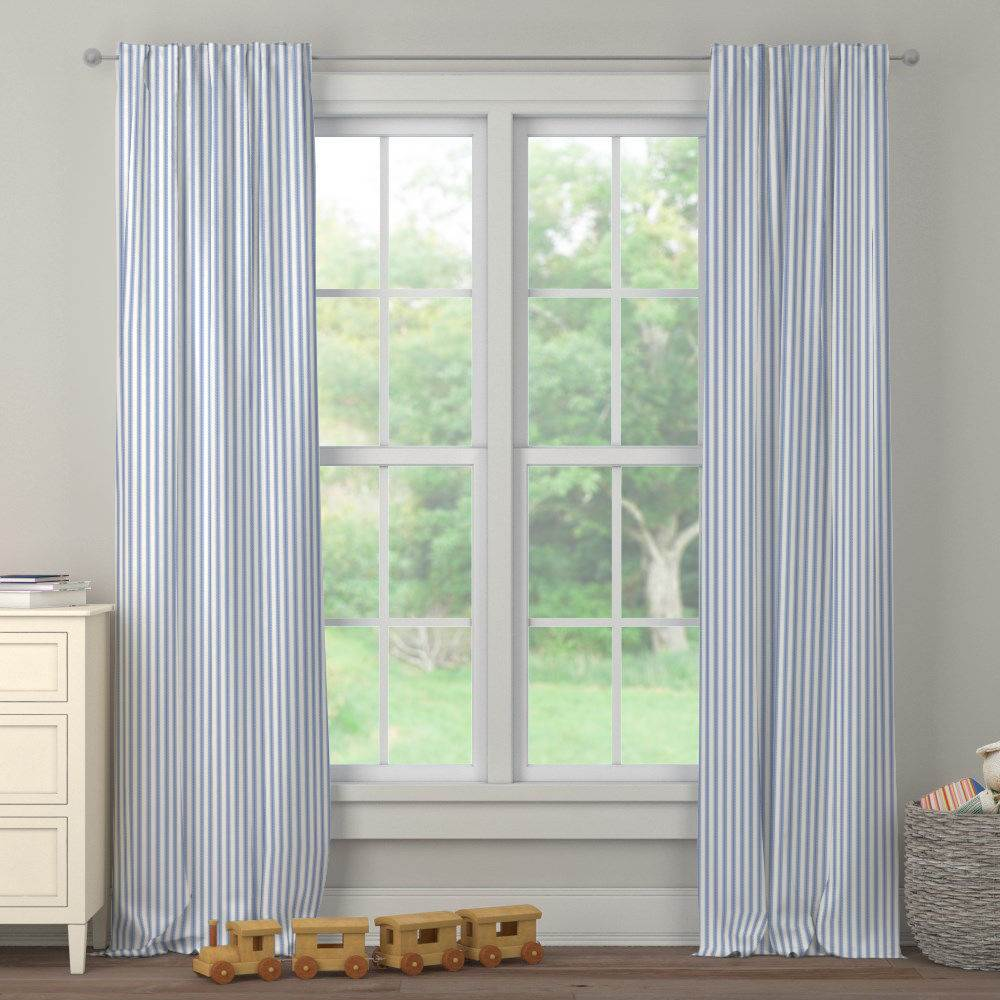Product image for Ocean Blue Ticking Stripe Drape Panel