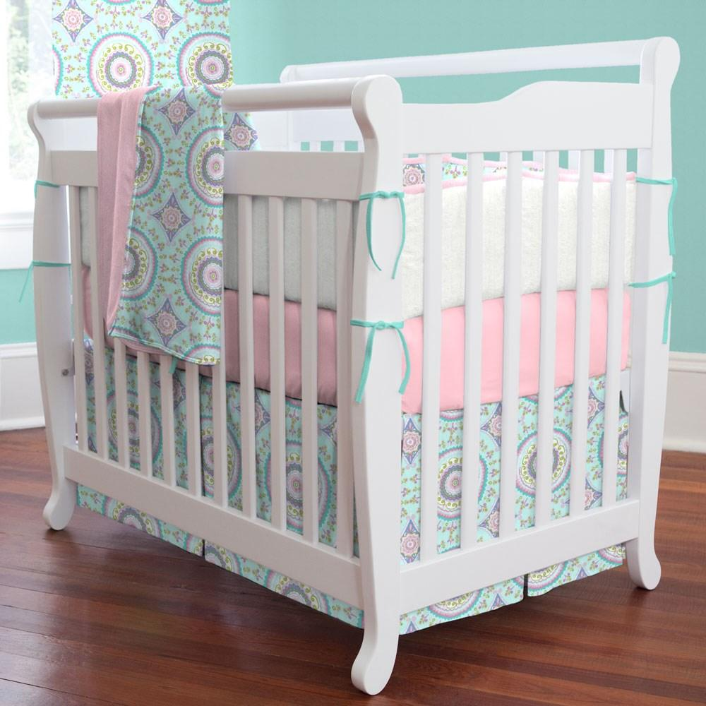 Product image for Aqua Haute Circles Mini Crib Skirt