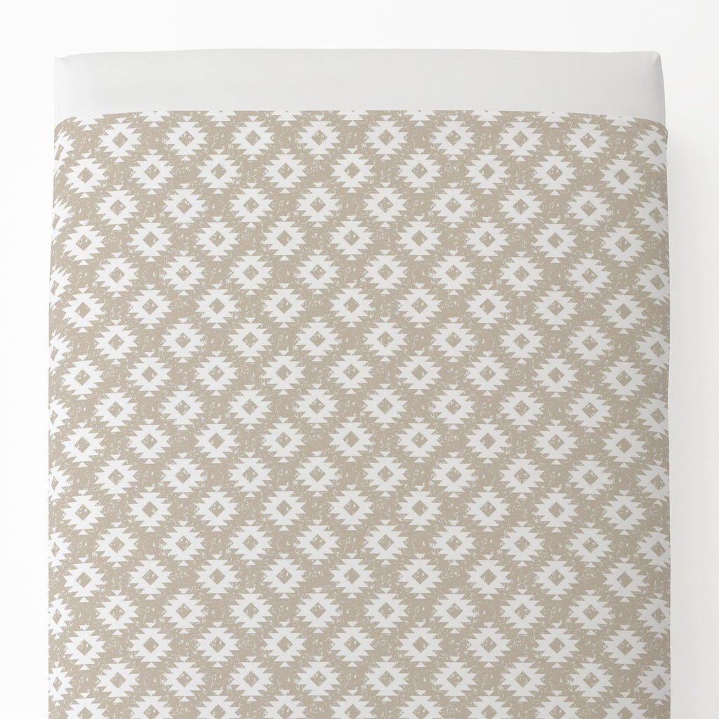 Product image for Taupe and White Aztec Toddler Sheet Top Flat