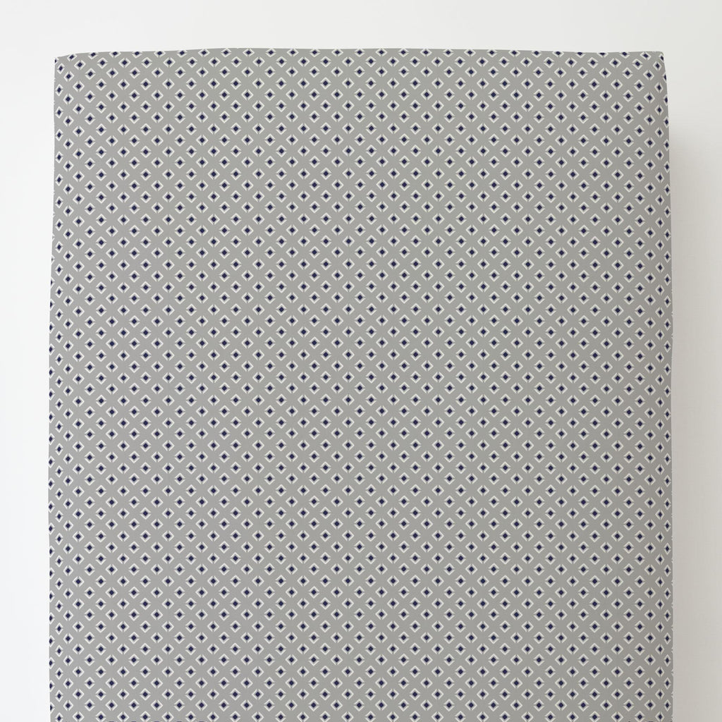 Product image for Silver Gray and Navy Diamond Toddler Sheet Bottom Fitted