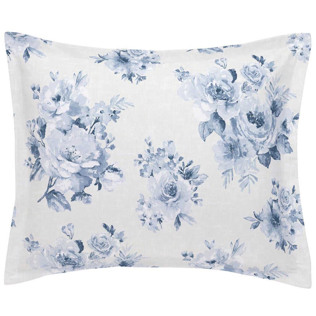 Product image for Blue Farmhouse Floral Pillow Sham