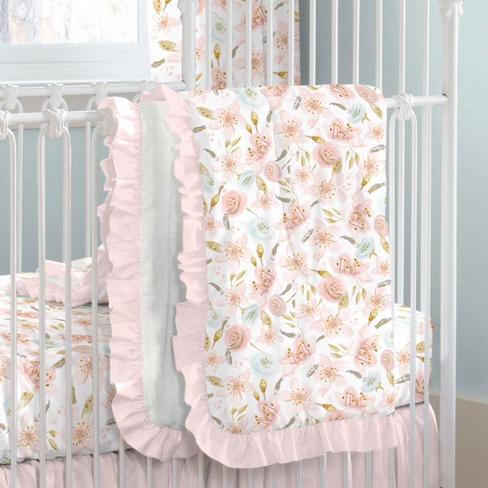 Product image for Pink Hawaiian Floral Crib Comforter with Ruffle