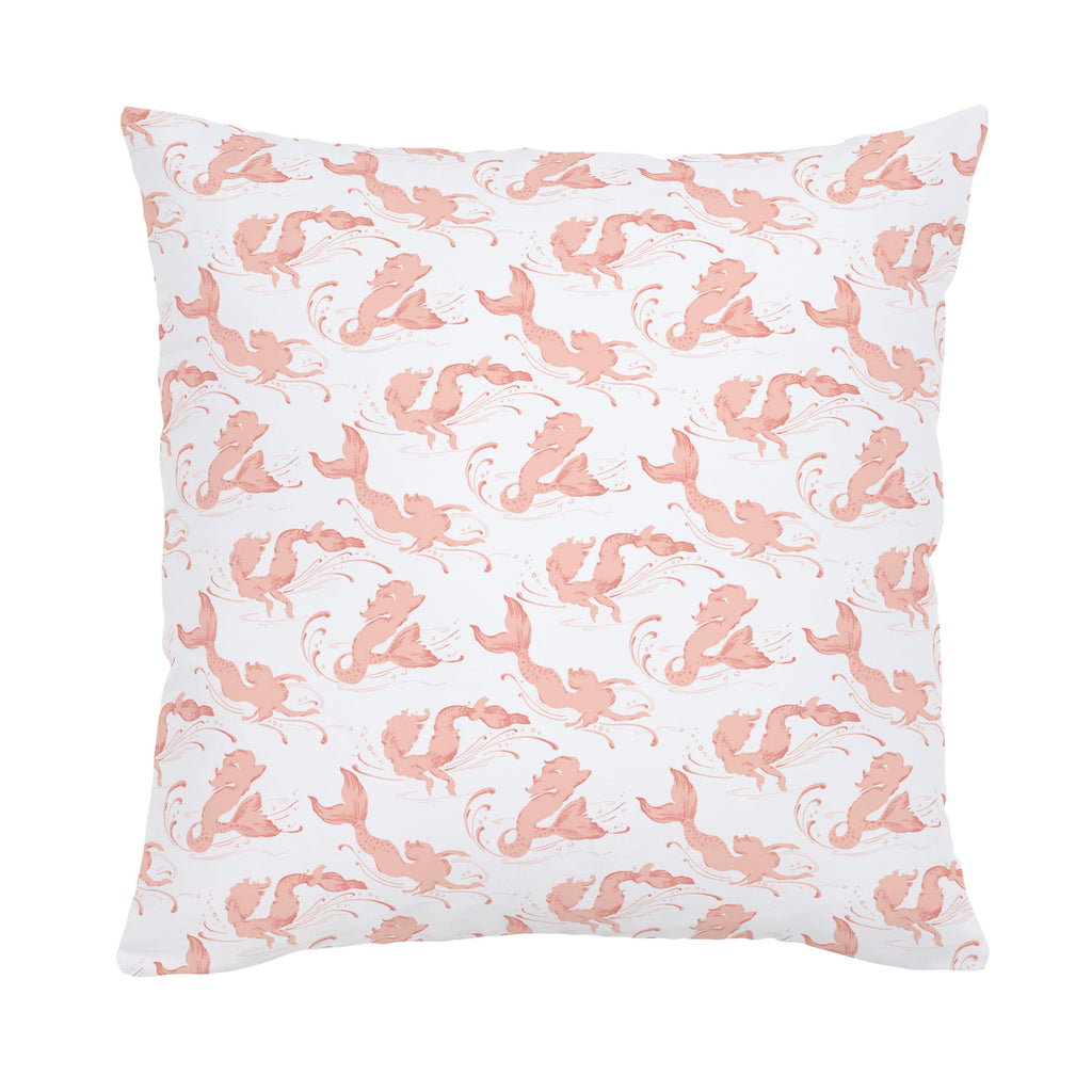 Product image for Peach Swimming Mermaids Throw Pillow