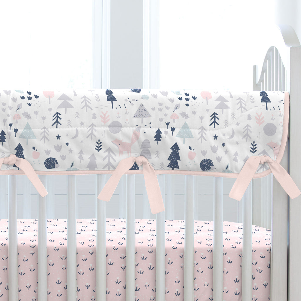Product image for Gray and Pink Baby Woodland Crib Rail Cover