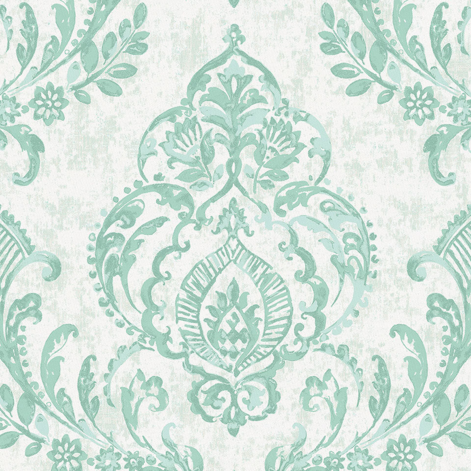 Product image for Mint Painted Damask Fabric