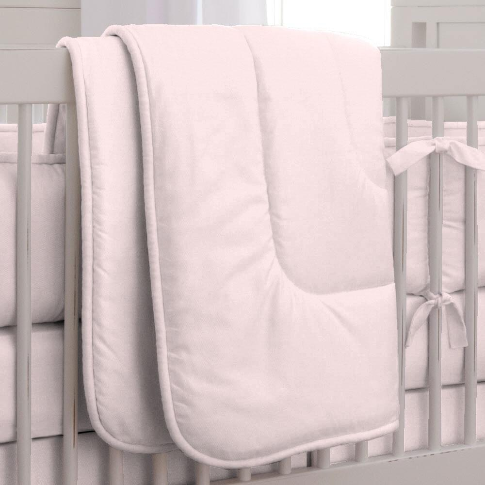 Product image for Solid Pink Crib Comforter with Piping