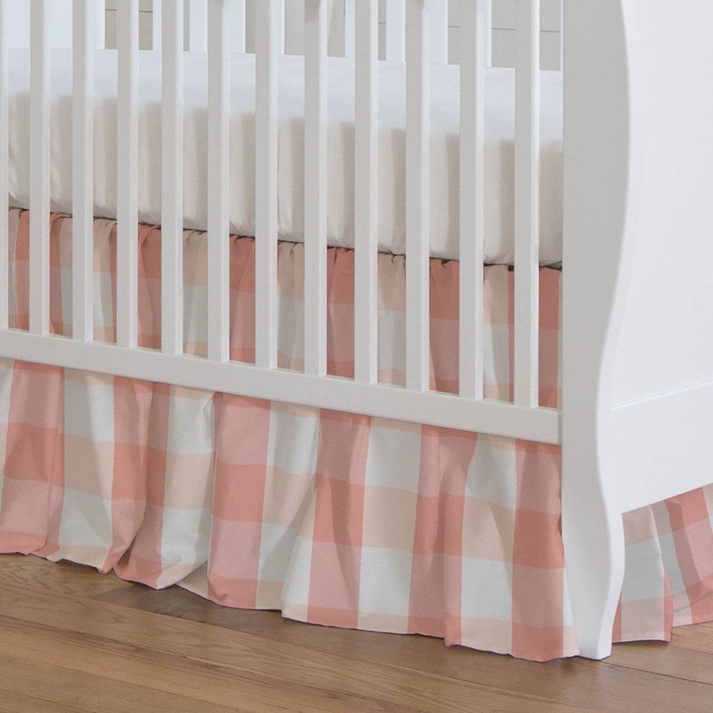 Product image for Light Coral and Peach Buffalo Check Crib Skirt Gathered