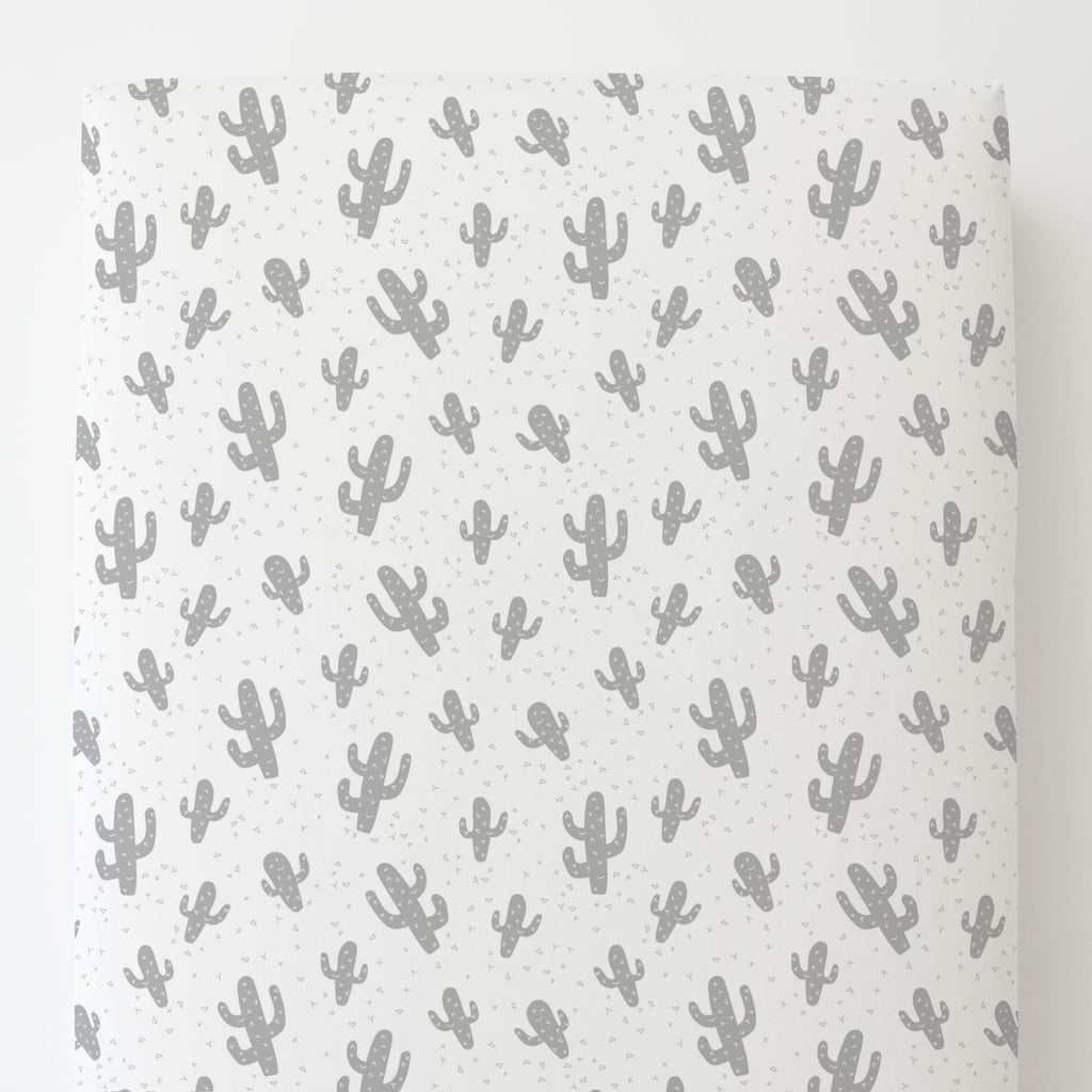 Product image for Silver Gray Cactus Toddler Sheet Bottom Fitted
