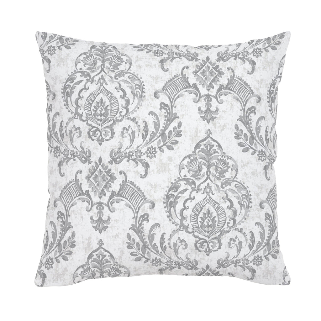 Product image for Gray Painted Damask Throw Pillow