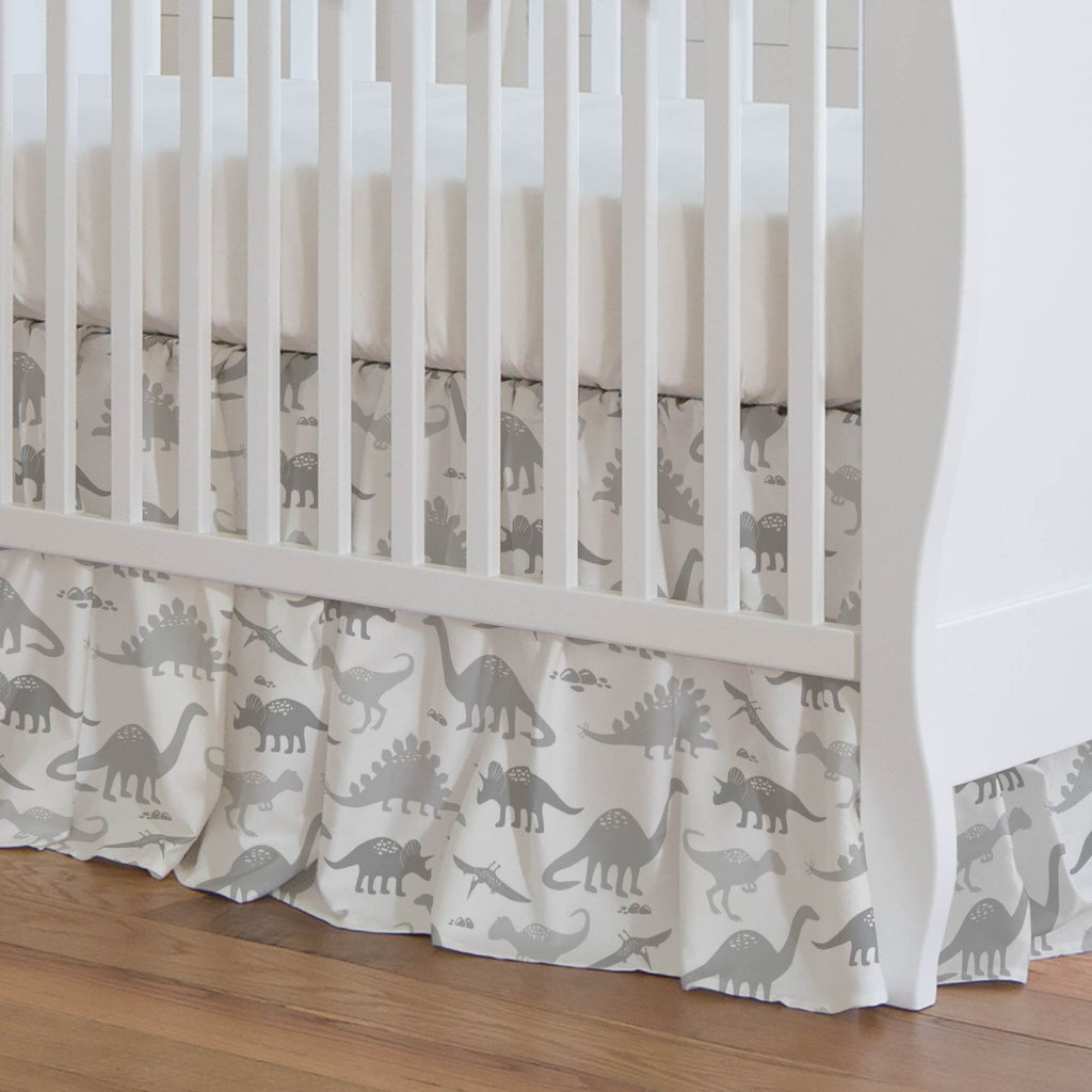 Product image for Gray Dinosaurs Crib Skirt Gathered