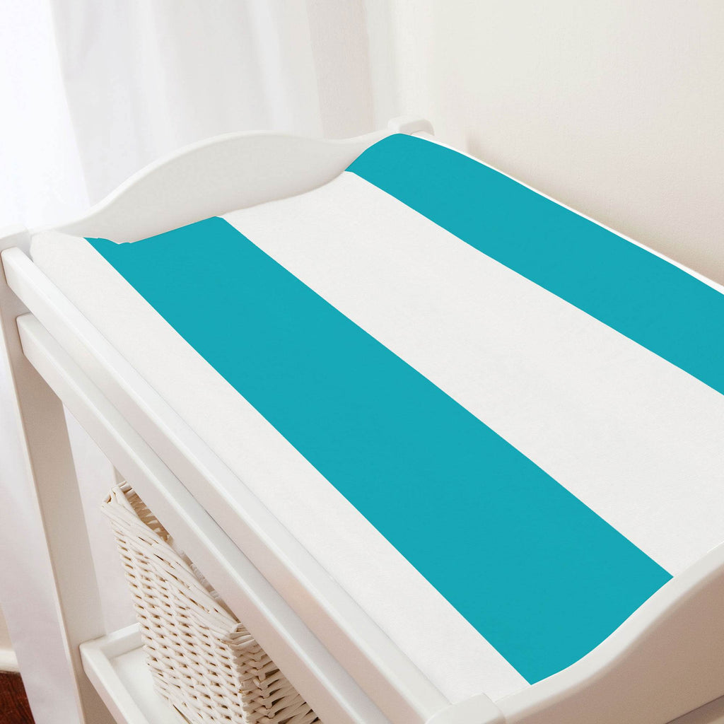 Product image for Teal Horizontal Stripe Changing Pad Cover