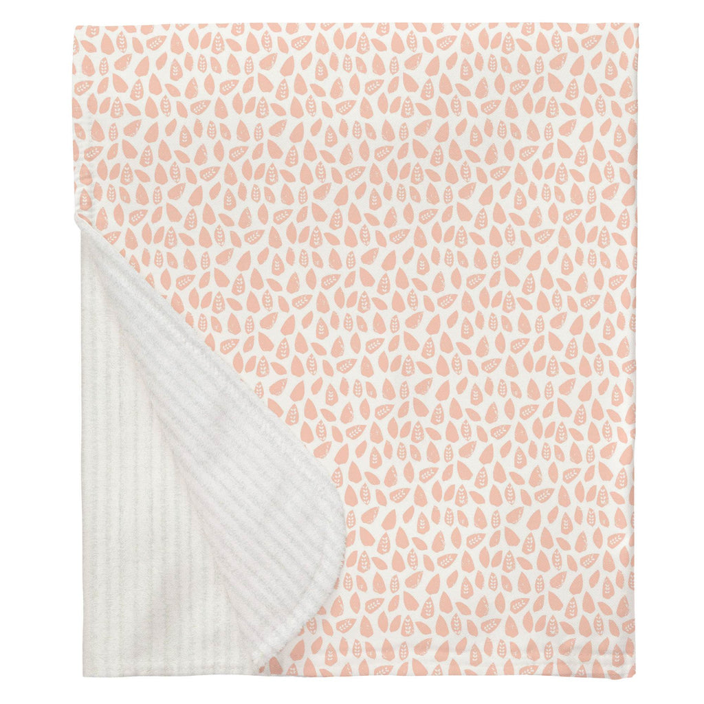 Product image for Peach Woodland Leaf Baby Blanket