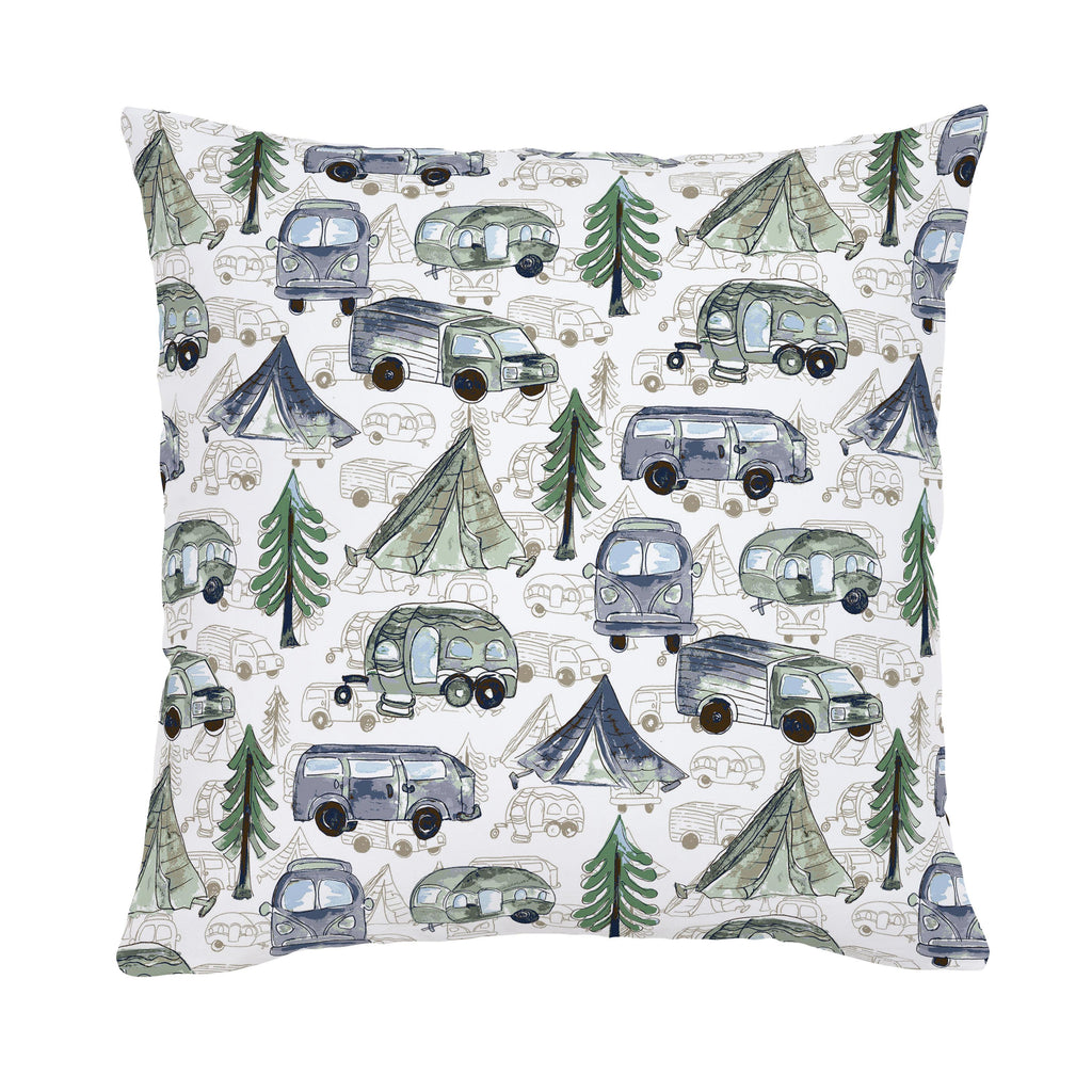Product image for Navy and Seafoam Gone Camping Throw Pillow