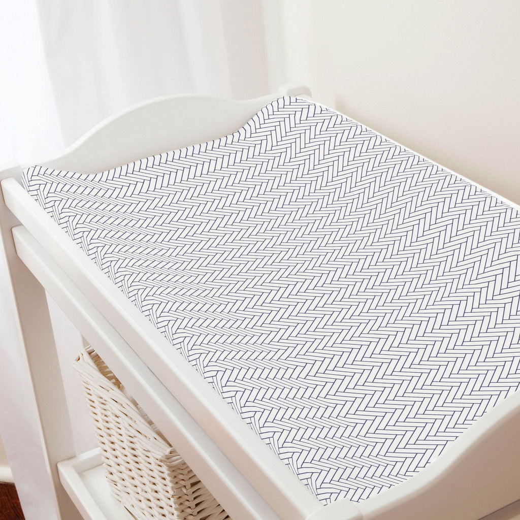 Product image for White and Navy Classic Herringbone Changing Pad Cover