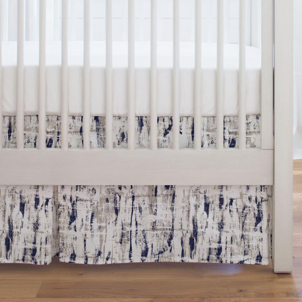 Product image for Navy and Taupe Birch Crib Skirt Single-Pleat