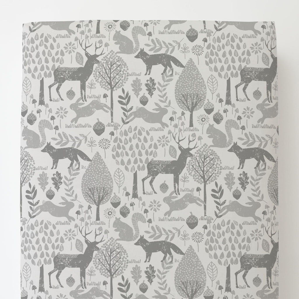 Product image for Gray Woodland Animals Toddler Sheet Bottom Fitted