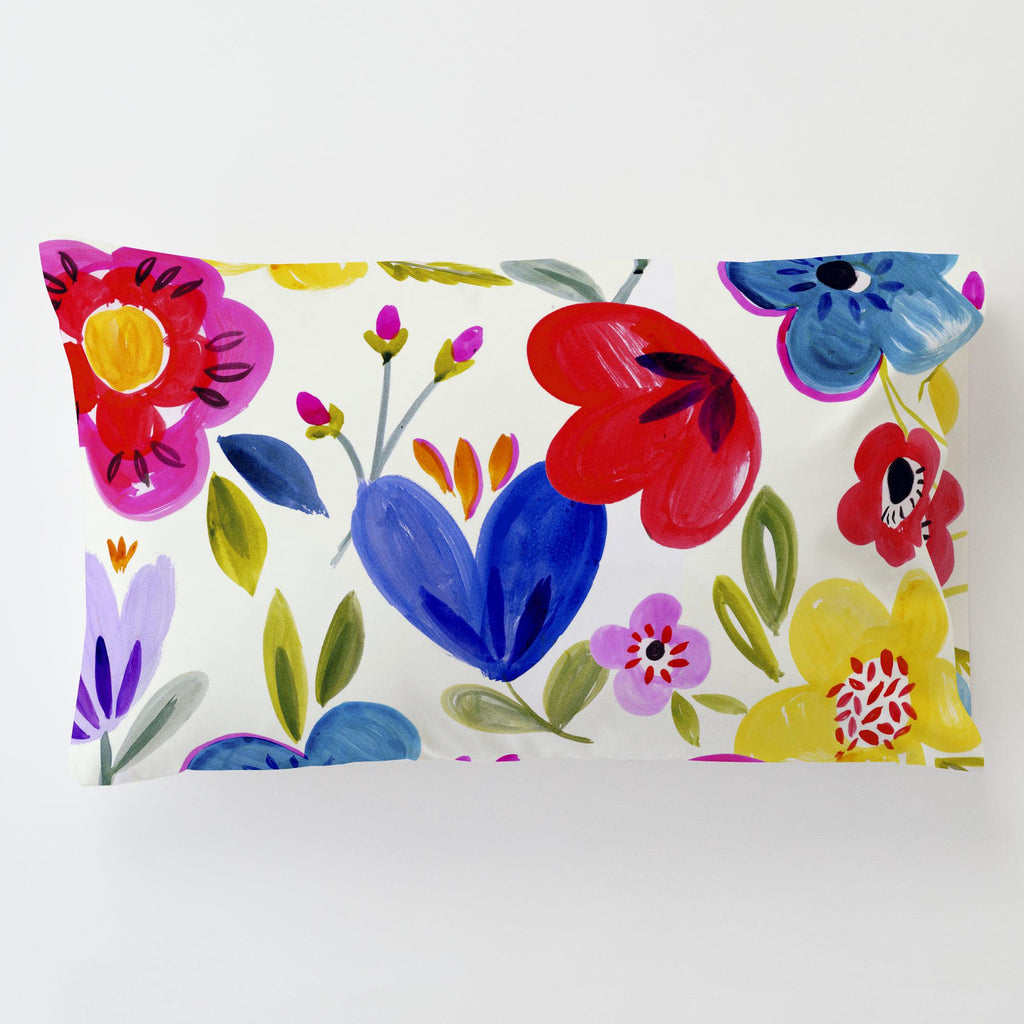 Product image for Primary Painted Flowers Toddler Pillow Case with Pillow Insert