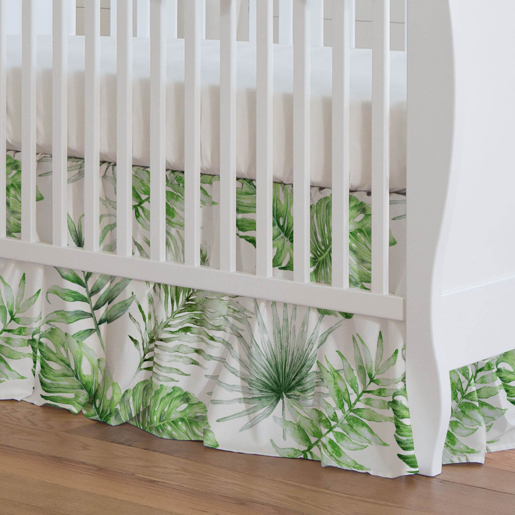 Product image for Green Painted Tropical Crib Skirt Gathered