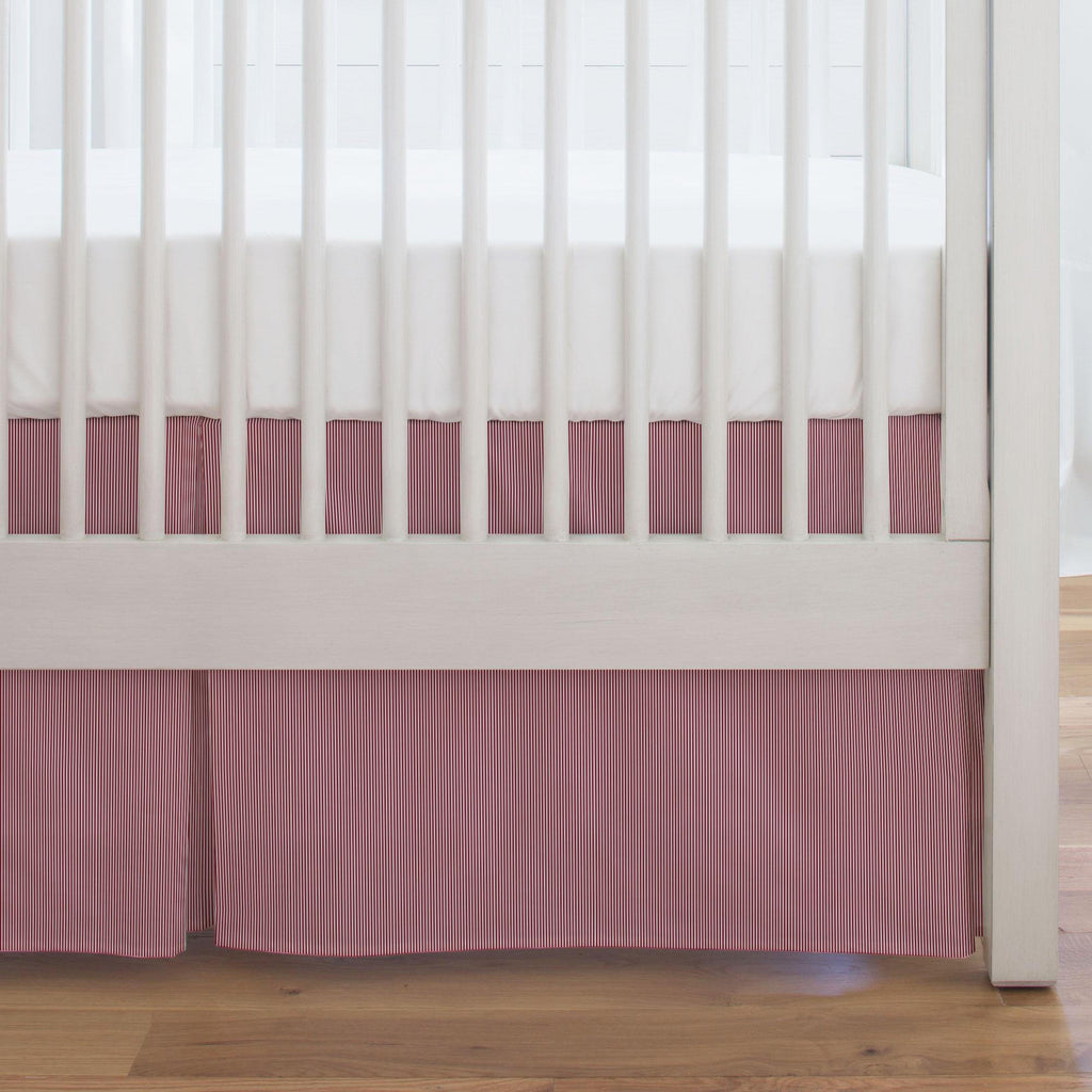 Product image for Crimson Mini Stripe Crib Skirt Single-Pleat