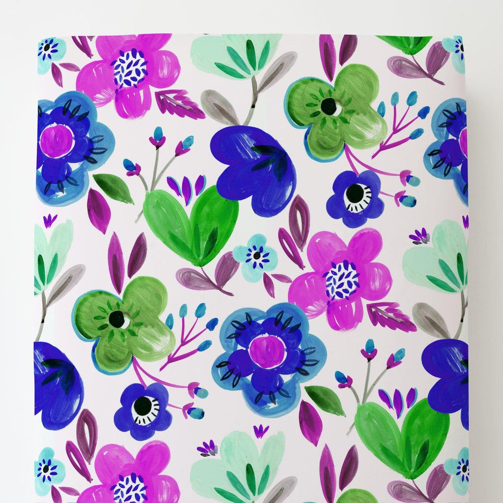 Product image for Purple Painted Flowers Toddler Sheet Bottom Fitted