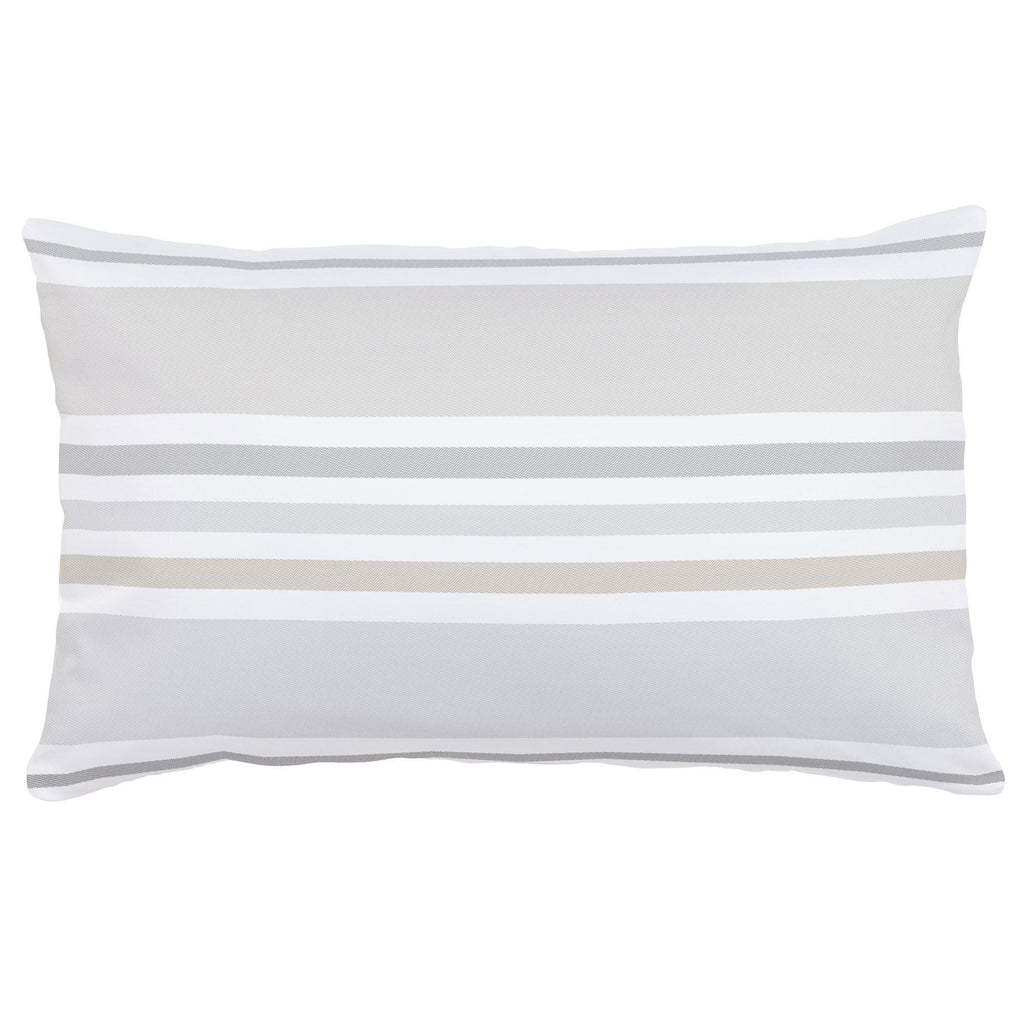 Product image for French Gray and Taupe Summer Stripe Lumbar Pillow