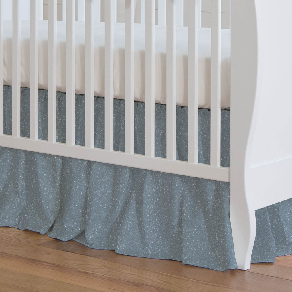 Product image for Steel Blue Heather Crib Skirt Gathered