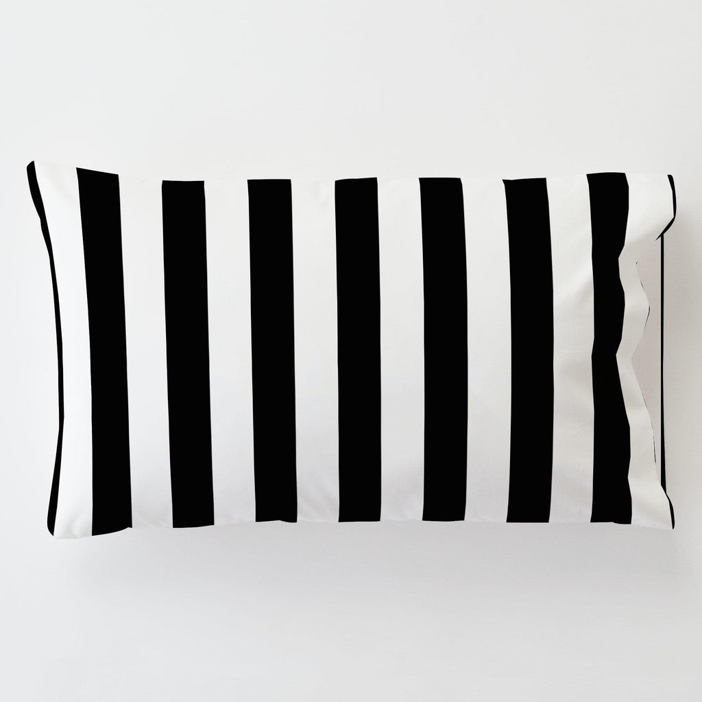Product image for Onyx and White Stripe Toddler Pillow Case with Pillow Insert
