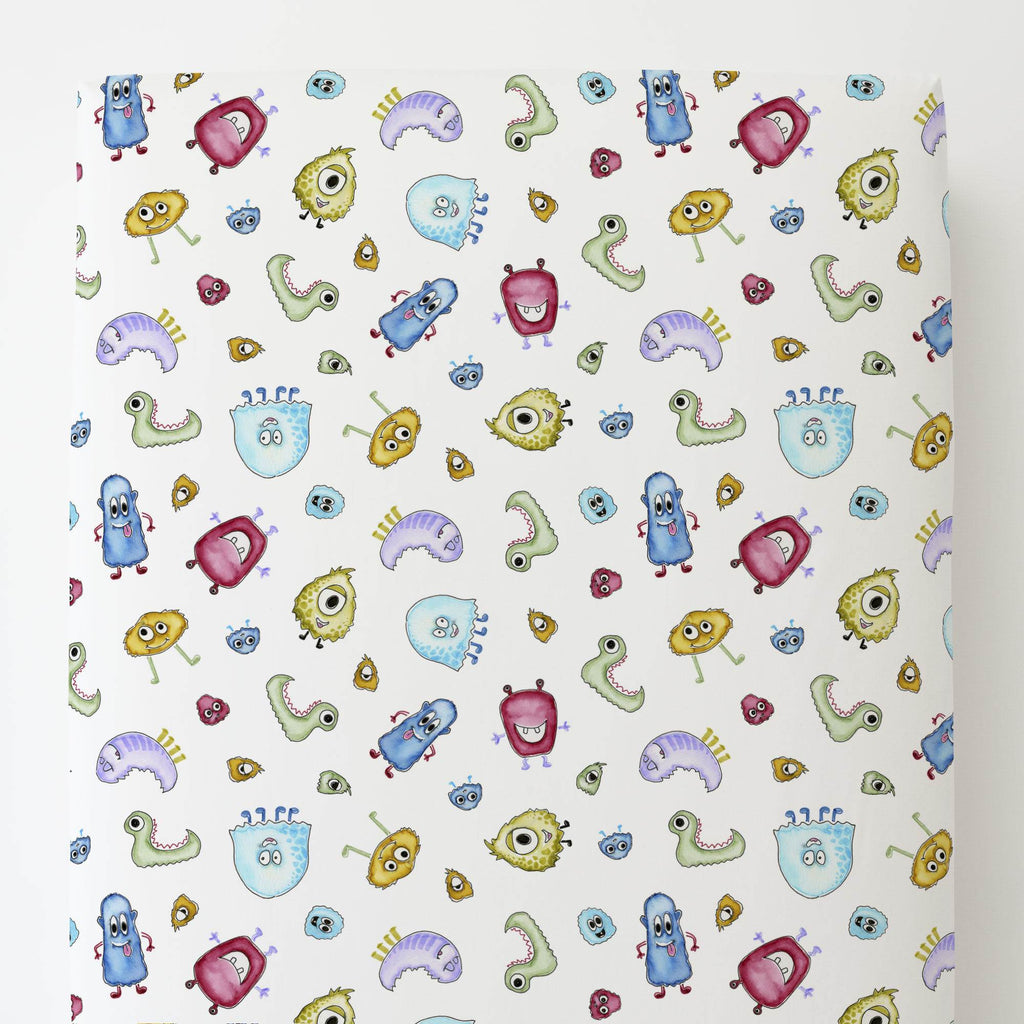 Product image for Watercolor Monsters Toddler Sheet Bottom Fitted
