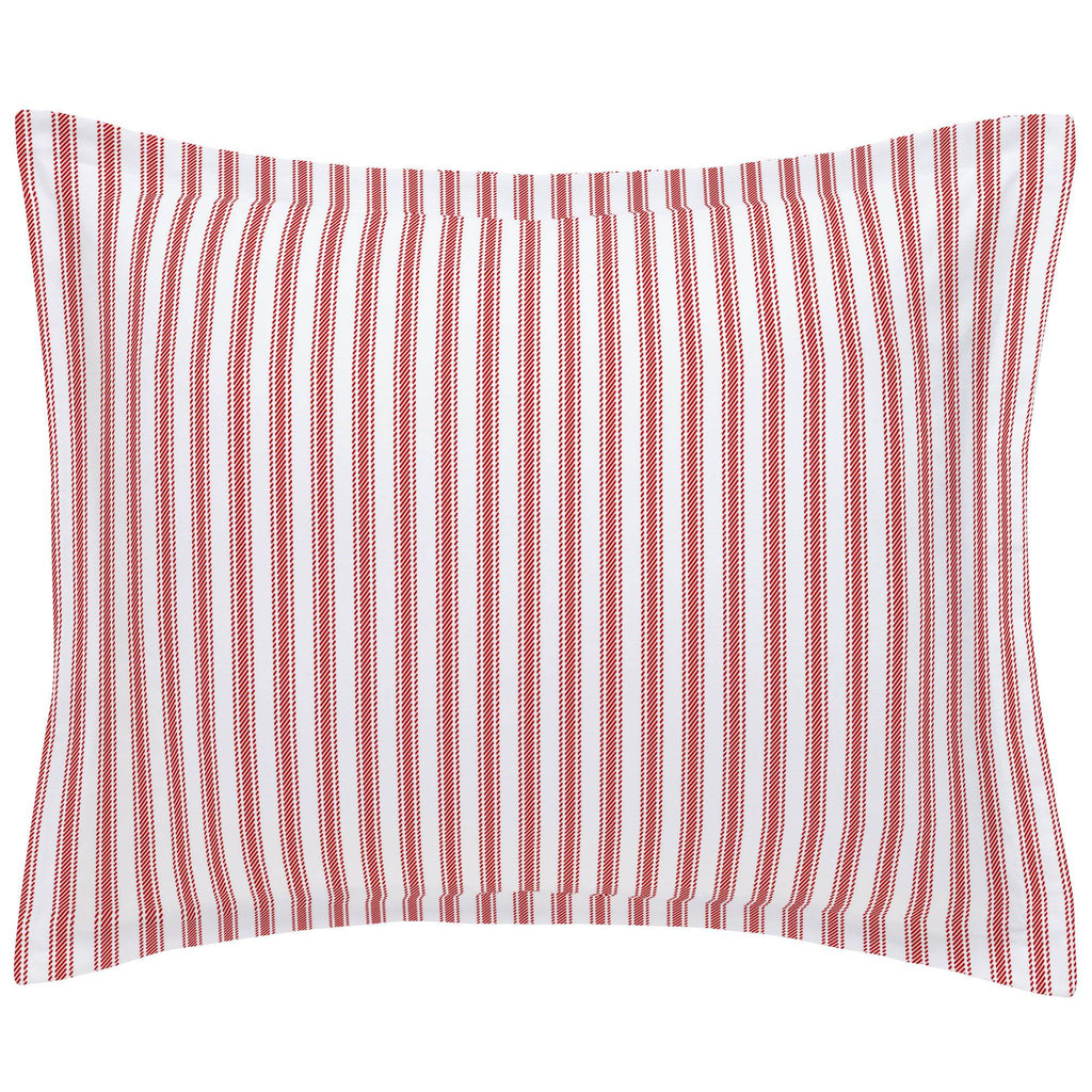Product image for Red Ticking Stripe Pillow Sham