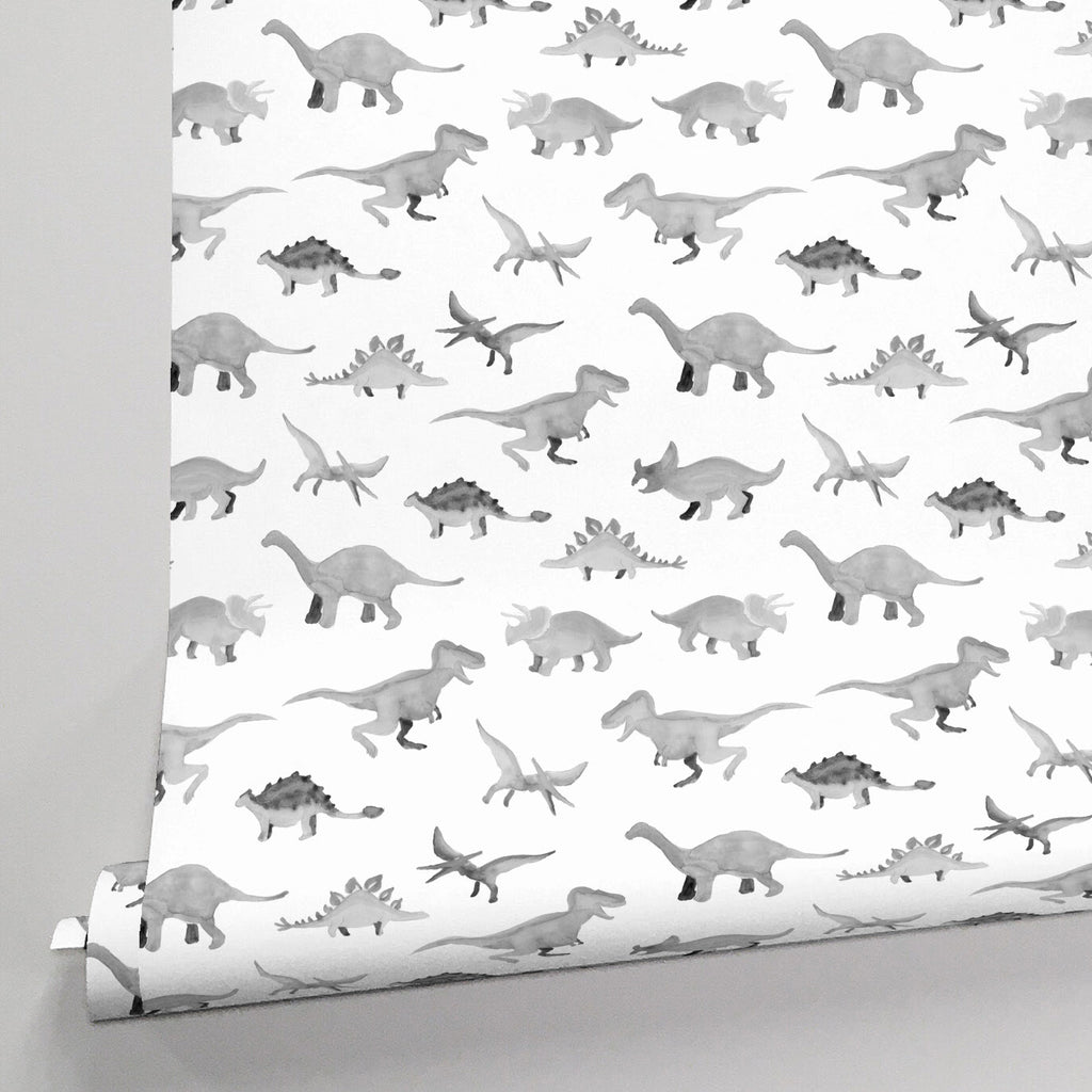 Product image for Gray Watercolor Dinosaurs Wallpaper Panel