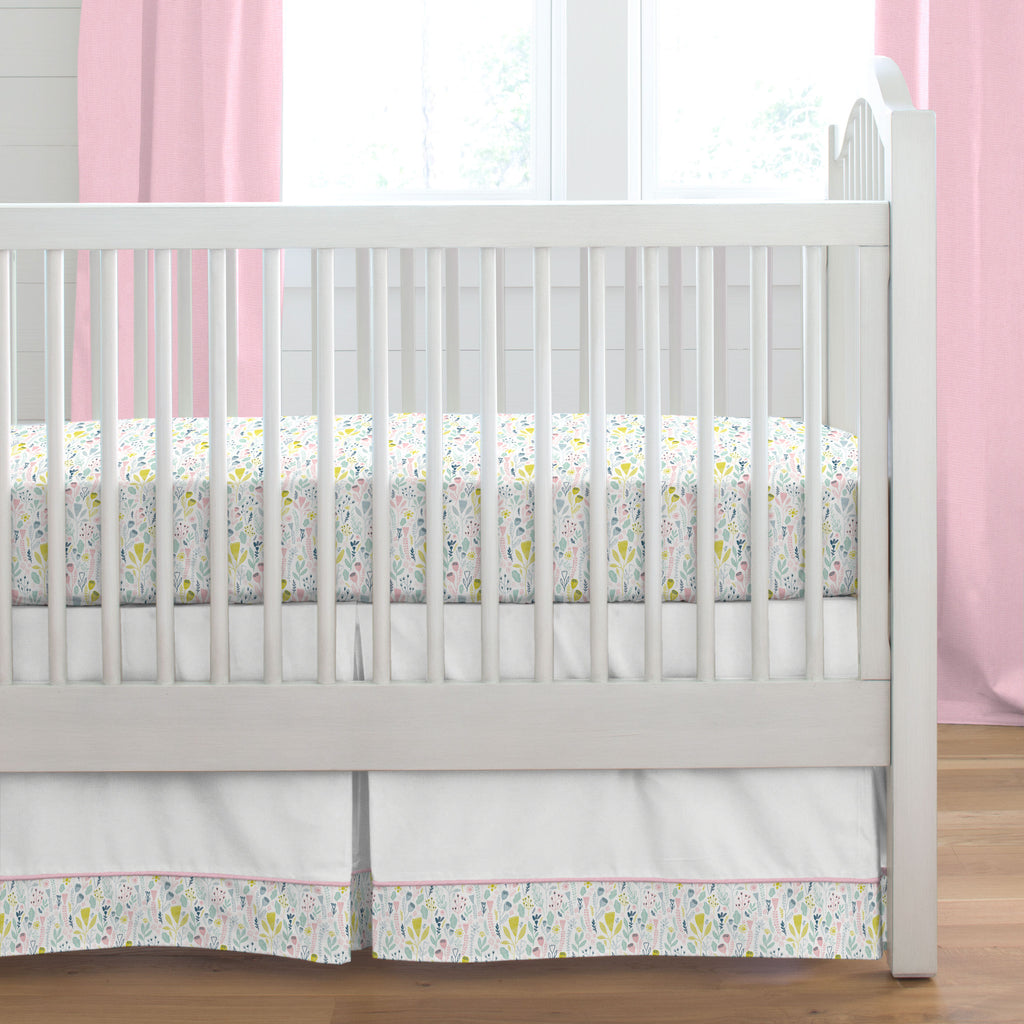 Product image for Pink Woodland Mountains Crib Skirt Single-Pleat with Trim