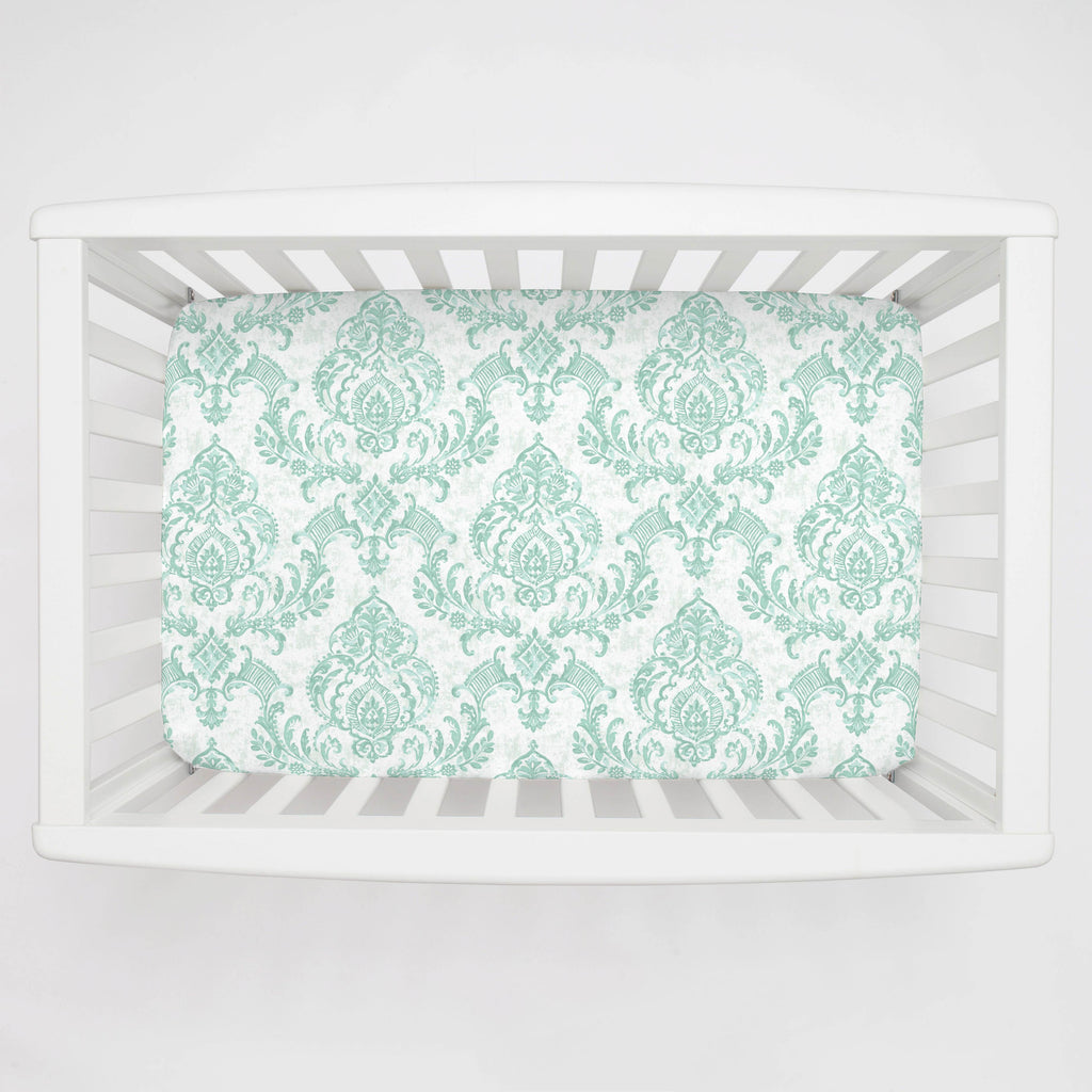 Product image for Mint Painted Damask Mini Crib Sheet