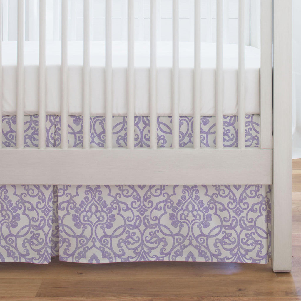 Product image for Lilac Filigree Crib Skirt Single-Pleat